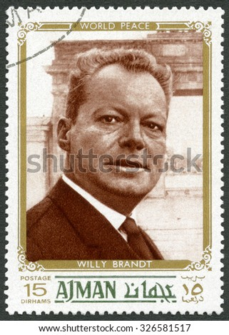 UAE - CIRCA 1970 : A stamp printed in Ajman United Arab Emirates UAE shows Willy Brandt (1913-1992), politician, circa 1970 - stock photo