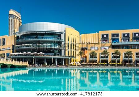 UAE, DUBAI - JANUARY 02: Dubai shopping mall exterior on January 02, 2015 in Dubai, United Arab Emirates - stock photo
