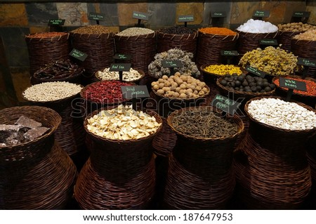 UAE Dubai many different spices are for sale at the spice souq in Deira                           - stock photo