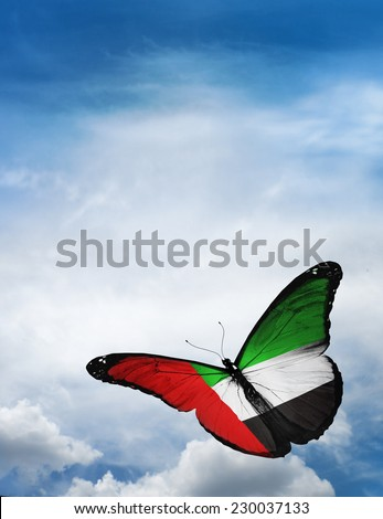 UAE flag butterfly flying on sky background - stock photo