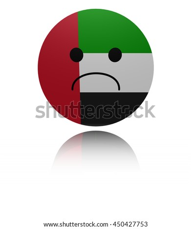 UAE sad icon with reflection 3d illustration - stock photo