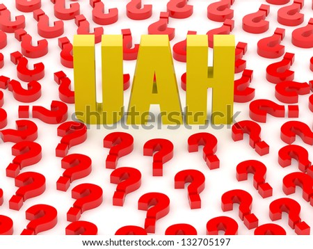 UAH sign surrounded by question marks. Concept 3D illustration. - stock photo