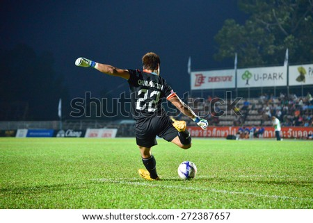 UBONRATCHATHANI THAILAND-APRIL 19: Chinnakorn Deesai (GK) of Ubon Umt United. in action during Toyota League Cup between Sisaket FC and Ubon Umt United at Ubon Ratchathani on April 19,2015,Thailand - stock photo