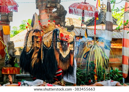 UBUD, BALI, INDONESIA - MARCH 27 : Barong Dance show, the traditional Balinese performance on March 27, 2014 in Ubud, Bali, Indonesia. - stock photo