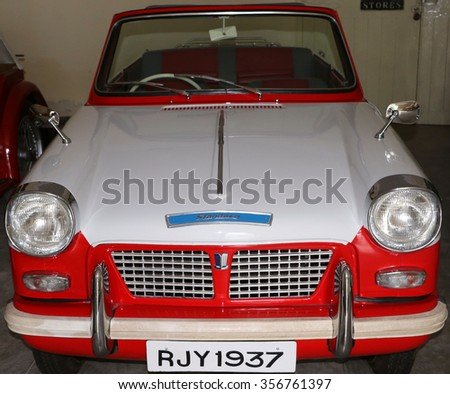 Udaipur, India - September 11, 2015: Vintage Vehicle: Collection within the ground of Garden Hotel, comprises classic vehicles like Cadillac, Chevrolet, Morais etc., belong to the king of Udaipur. - stock photo