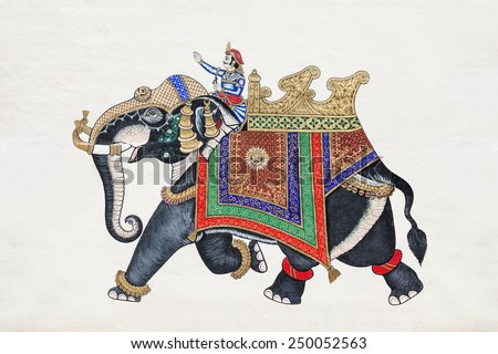 Udaipur, India UDAIPUR, INDIA - OCTOBER 10: Beautiful elephant picture on the City Palace wall on October10, 2013, Udaipur, India - stock photo