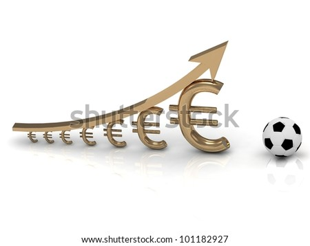 UEFA Cup and chart the growth of the euro currency on white background - stock photo