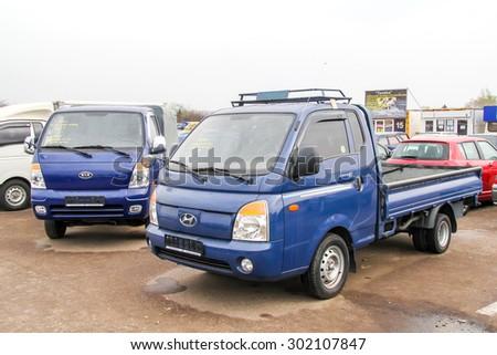 UFA, RUSSIA - APRIL 19, 2012: Motor car Hyundai Porter at the used cars trade center. - stock photo