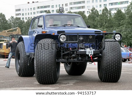 "UFA, RUSSIA - MAY 15: All-terrain-vehicle VAZ-1922 Marsh exhibited at the annual Motor show ""Autosalon"" on May 15, 2008 in Ufa, Bashkortostan, Russia. - stock photo"
