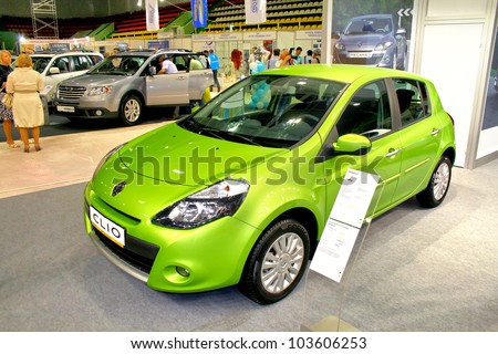 "UFA, RUSSIA - MAY 12: French motor car Renault Clio on display at the annual Motor show ""Autosalon"" on May 12, 2010 in Ufa, Bashkortostan, Russia. - stock photo"