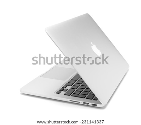 UFA, RUSSIA - OCTOBER 16 , 2014: Photo of a MacBook Pro. MacBook Pro Retina is a laptop developed by Apple Inc. - stock photo