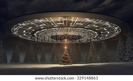 ufo celebration christmas - stock photo