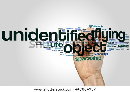 UFO concept word cloud background - stock photo