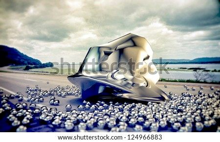 ufo crash on the highway - stock photo