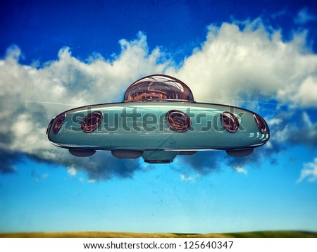 ufo flying in the sky - stock photo