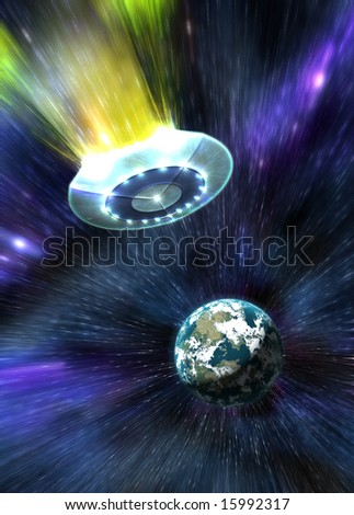 ufo hyperspace - stock photo