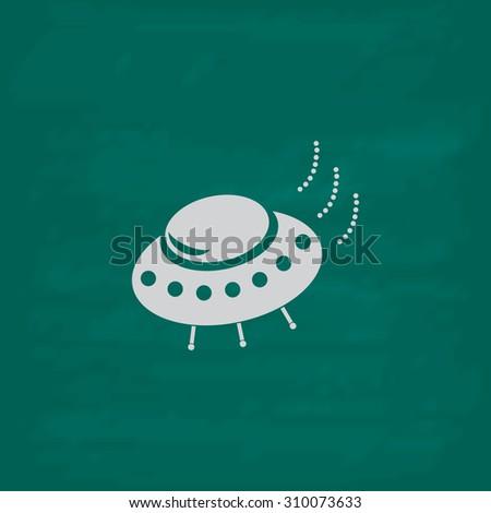 UFO.  Icon. Imitation draw with white chalk on green chalkboard. Flat Pictogram and School board background. Illustration symbol - stock photo