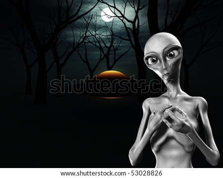 UFO in a dark forest. - stock photo