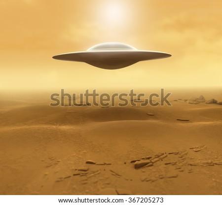 UFO in the Desert - stock photo