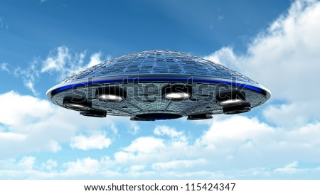 UFO in the sky with clipping path - stock photo