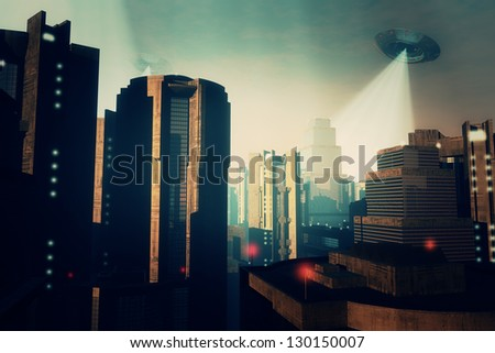 Ufo Invasion over Metropolis - stock photo