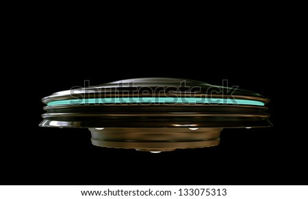 ufo isolated on black background - stock photo