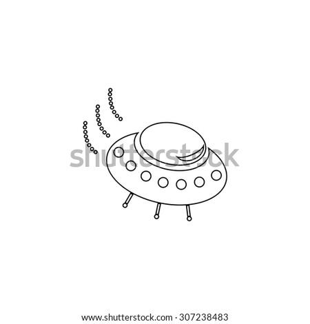 UFO. Outline black simple symbol - stock photo