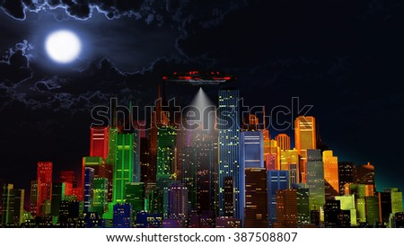 UFO over Modern Vivid Color City at Night 3D Illustration - stock photo