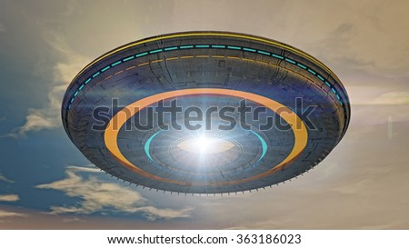 UFO spaceship concept - stock photo