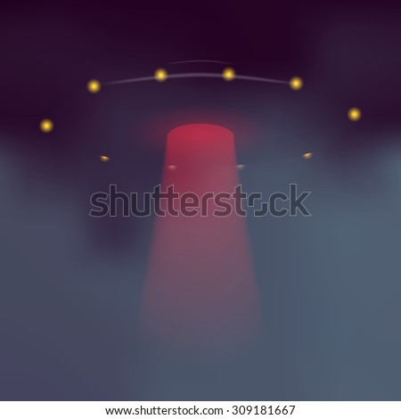 UFO with dramatic red light beam. Alien flying saucer on dark abstract background. - stock photo