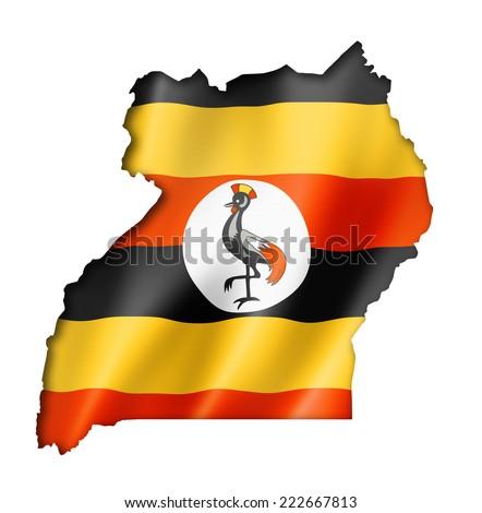 Uganda flag map, three dimensional render, isolated on white - stock photo