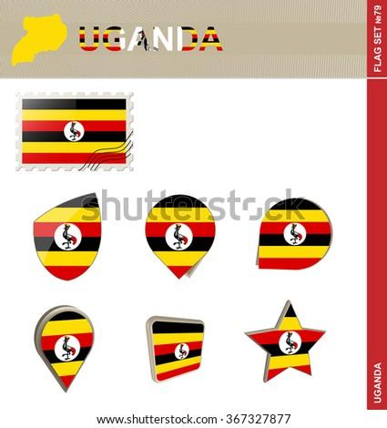 Uganda Flag Set, Flag Set 79. Rasterized Copy. - stock photo