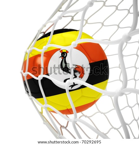 Uganda soccer ball inside the net isolated on white - stock photo