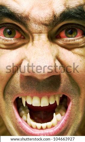 Ugly and furious zombie portrait.Vampire portrait.Horror vampire portrait. - stock photo