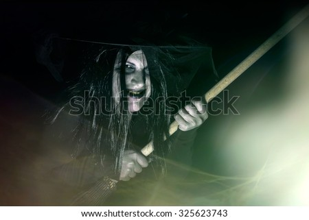 Ugly Evil Witch With Broom - stock photo