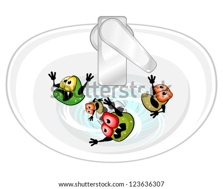 Ugly germs are in sink washing out with water - stock photo