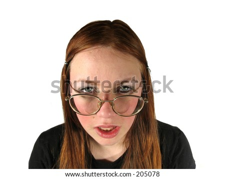 ugly girl with glasses on white background - stock photo