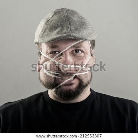 Ugly man portrait - stock photo