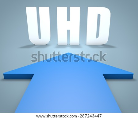 UHD - User Help Desk - 3d render concept of blue arrow pointing to text. - stock photo