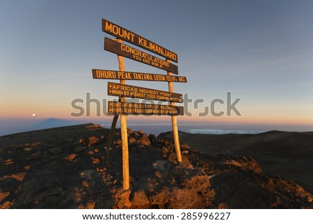 Uhuru Peak (highest summit) on Mount Kilimanjaro in Tanzania, Africa. - stock photo