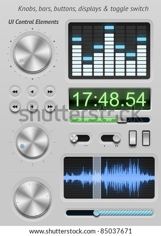 UI elements for tablets and smartphones. Control knobs, buttons, sliders and displays - stock photo