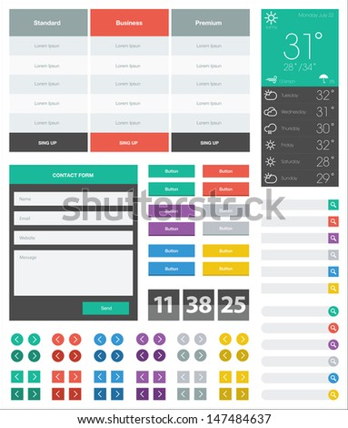 UI flat design web elements - stock photo