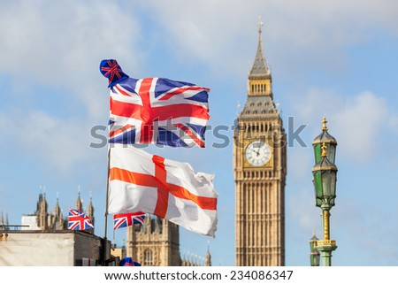 UK and England Flags in London - stock photo