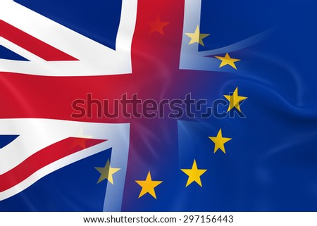 UK and EU Relations Concept Image - Flags of the United Kingdom and the European Union Fading Together - stock photo