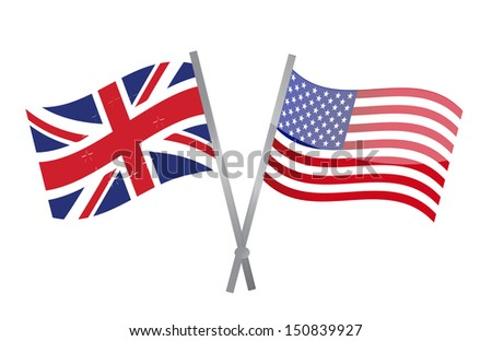 uk and usa flags join together. illustration design over white - stock photo