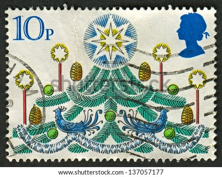 UK - CIRCA 1980: A stamp printed in UK shows image of The Christmas Tree, circa 1980. - stock photo