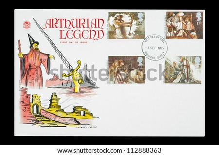 UK - CIRCA 1985: First day of issue mail stamp set printed in the UK featuring characters from the Arthurian Legends, circa 1985 - stock photo