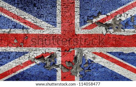 UK cracked grunge flag - stock photo