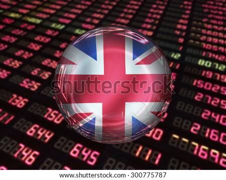 UK economic Bubble on stock market quotes - stock photo