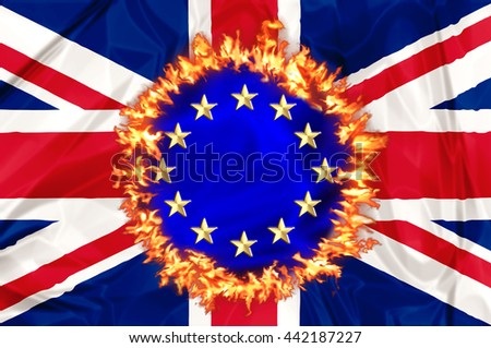 UK economy destroyed by Euro and European austerity politics. Financial concept for failure, debit, unique currency and financial bond - stock photo